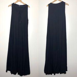 torrid Dresses - Torrid BLACK LACE-UP CHALLIS TRAPEZE MAXI DRESS